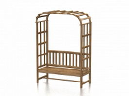 Wood arbor bench 3d preview