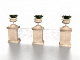 Garden railings fencing 3d model preview