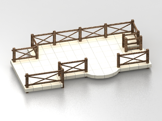 Pond deck with railing 3d rendering