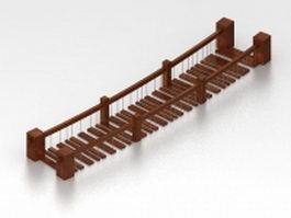 Wood drawbridge for garden 3d model preview