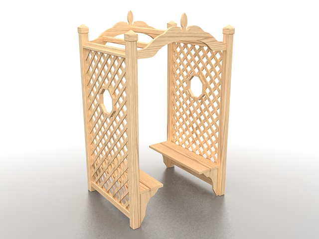 Wood arbor with bench 3d rendering
