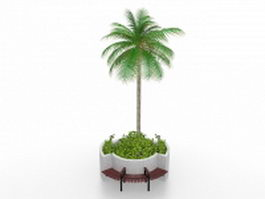 Raised flower bed with bench 3d model preview