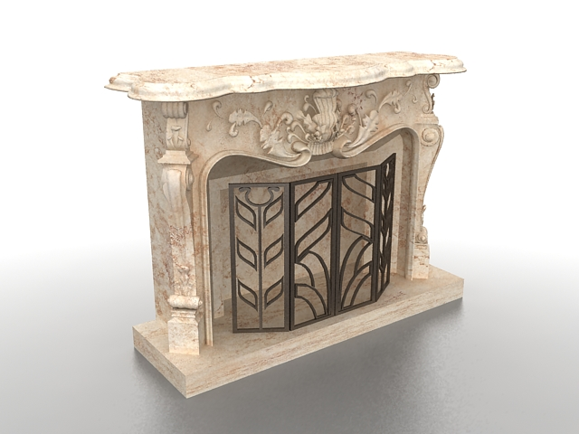 fireplace mantel with screen 3d rendering