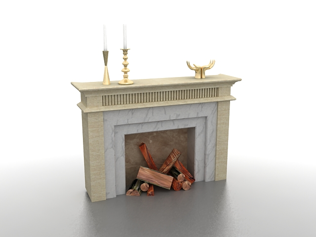 Wood burning fireplace 3d rendering