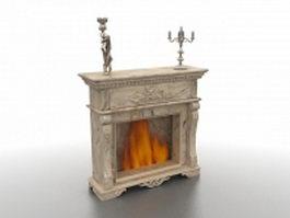 Antique fireplace 3d model preview