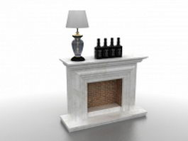 Brick fireplace with marble mantel 3d model preview
