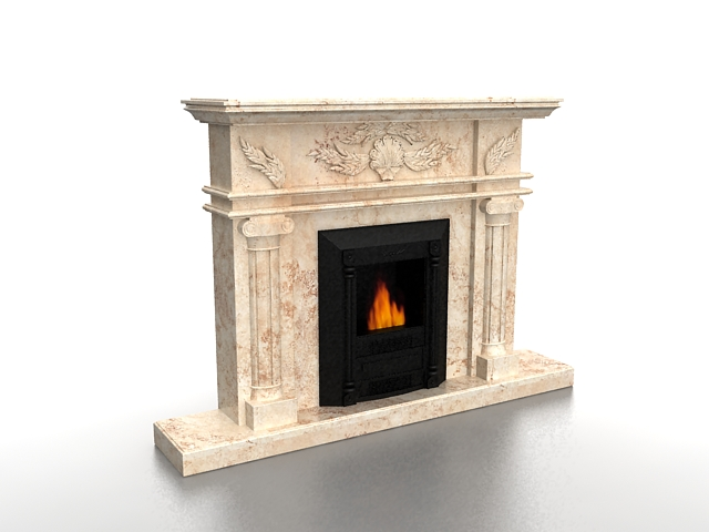 Gas fireplace with marble mantel 3d rendering