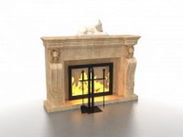 Fireplace with accessories 3d model preview