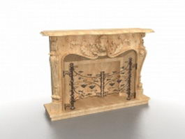 Carved fireplace surround 3d model preview