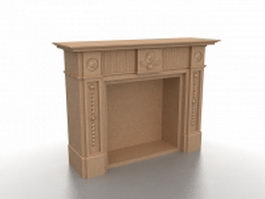Brown fireplace mantel 3d model preview