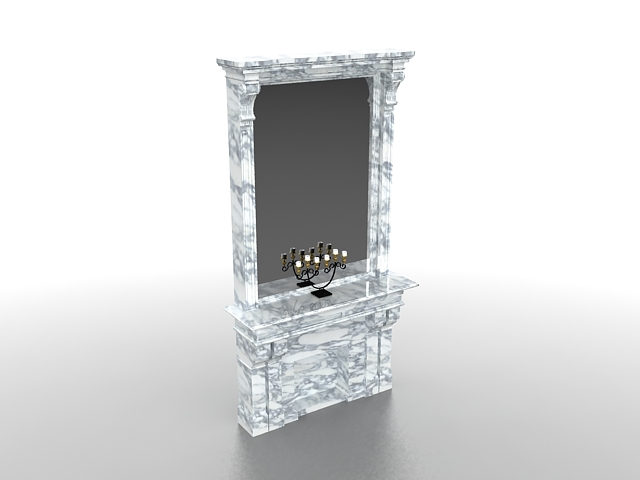 White fireplace with mirror 3d rendering