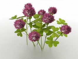 Purple peony flowers 3d model preview