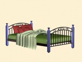 Country French bed 3d model preview