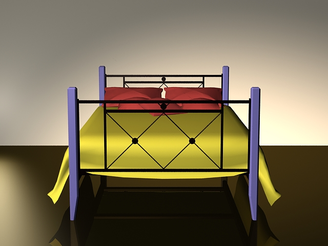 Wood and wrought iron bed 3d rendering