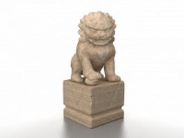 Chinese guardian lion statue 3d model preview