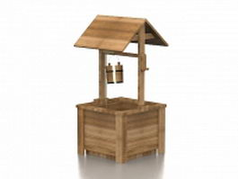 Wooden wishing well for lawn ornament 3d preview
