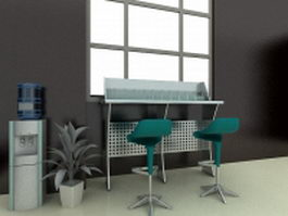 Bank customer service counter 3d model preview