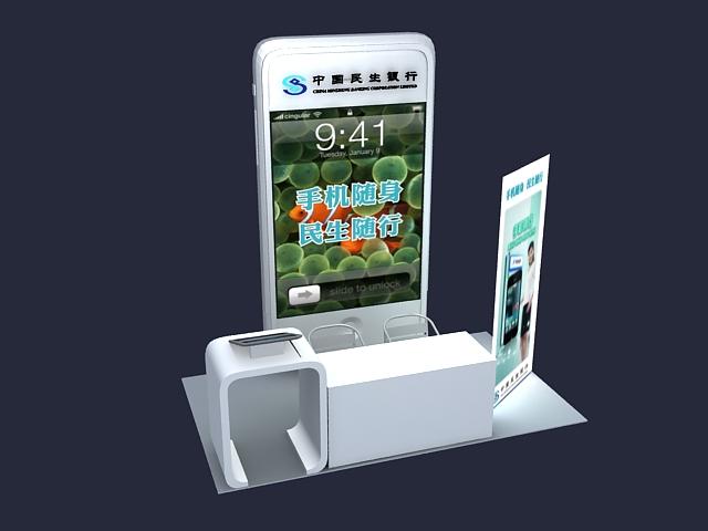 Bank customer service counter 3d rendering