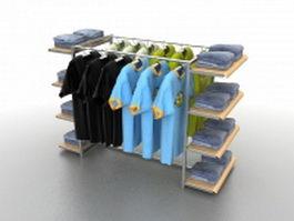 Clothing floor display rack 3d preview