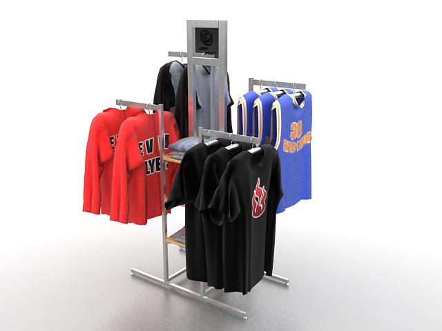 Clothing store display fixtures 3d rendering