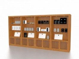 Wood store fixtures display rack 3d model preview