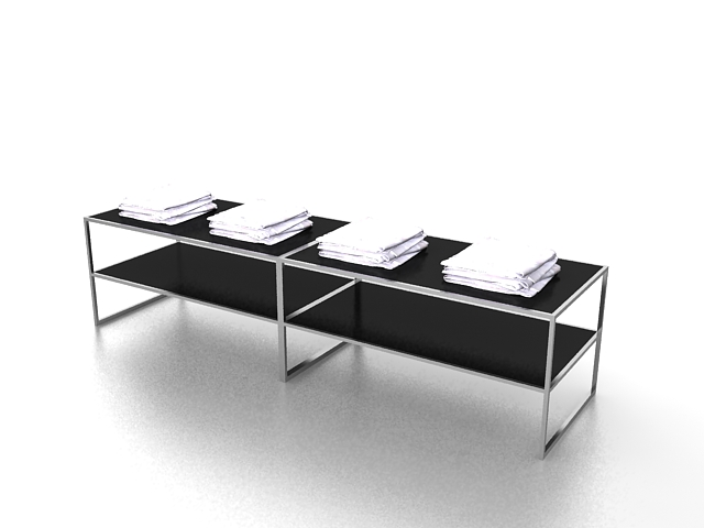 Clothing store display table 3d rendering