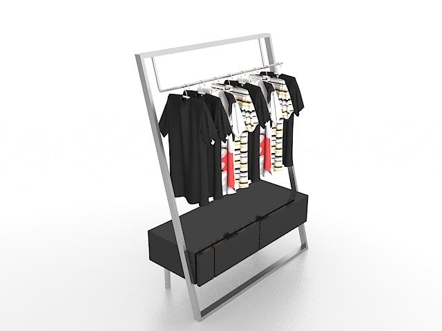Clothing display rack 3d rendering