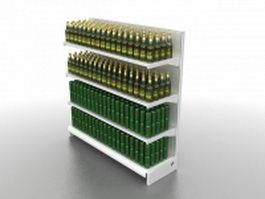 Supermarket beverage shelf 3d preview