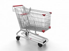 Metal shopping cart 3d preview