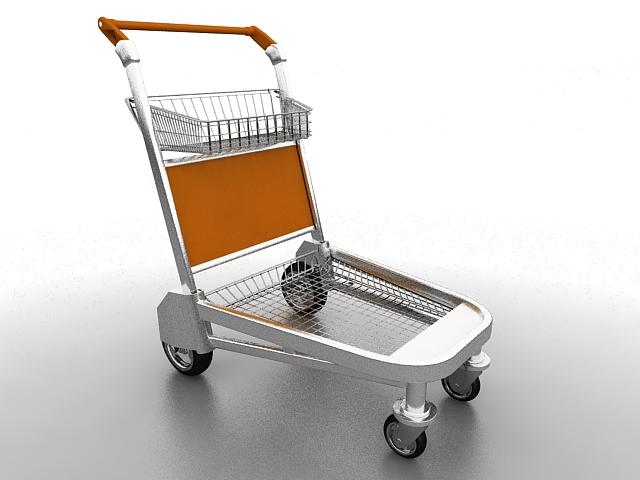 Supermarket trolley 3d rendering