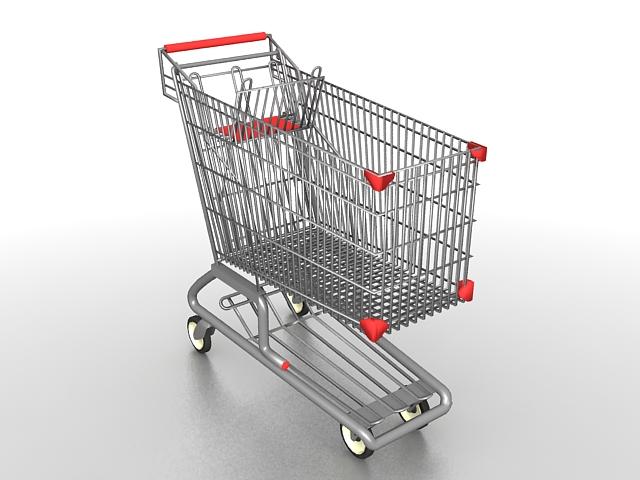 Supermarket shopping cart 3d rendering
