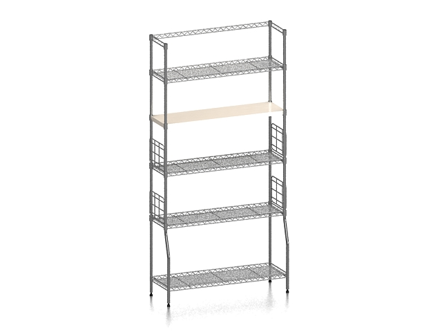 Supermarket goods shelf 3d rendering