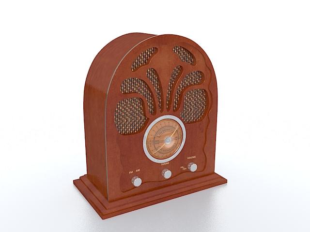 Vintage console radio 3d rendering