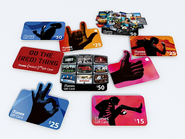 iTunes gift cards 3d rendering