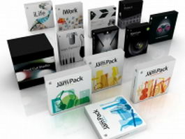 Apple software packaging boxes 3d model preview