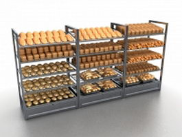 Bread display racks 3d model preview