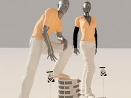 Fashion mannequins with clothes 3d preview