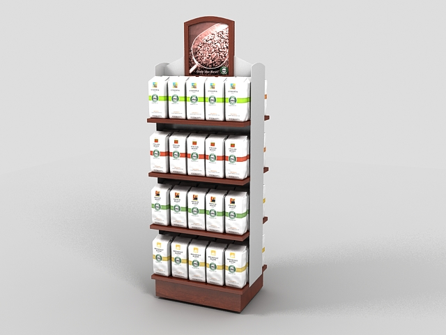 Coffee beverages display rack 3d rendering