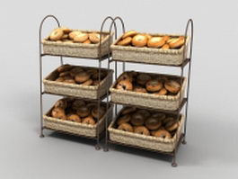 Bagel display racks for bagel shops 3d preview
