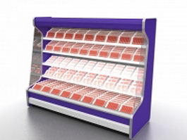 Fresh meat display refrigerator 3d model preview
