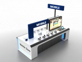 Mall cell phone display kiosk 3d preview