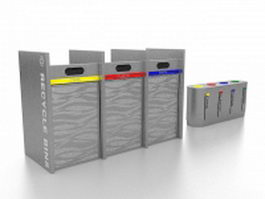 Sorted recycling bins 3d preview