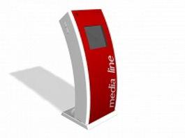 Media advertising kiosk 3d preview