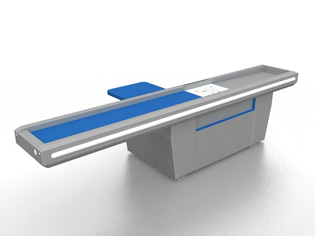 Supermarket checkout counter 3d rendering
