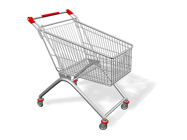 Supermarket cart 3d rendering