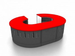 Round service counter 3d preview