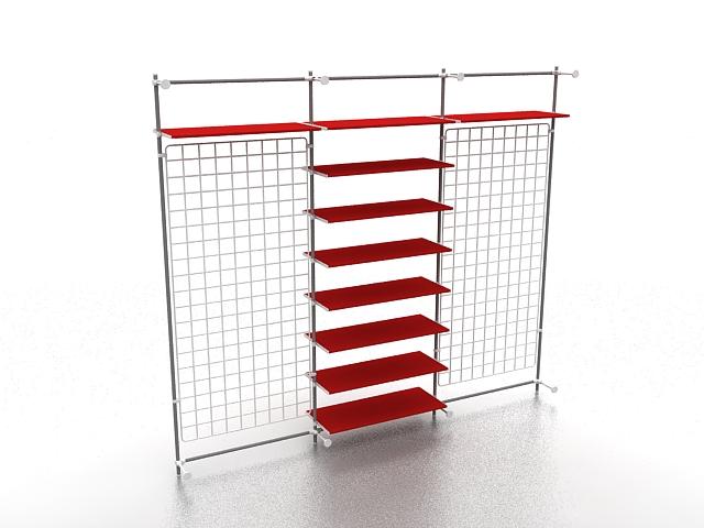Retail product display shelf 3d rendering