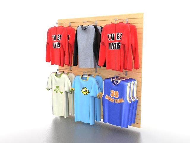 Clothing retail store fixtures 3d rendering