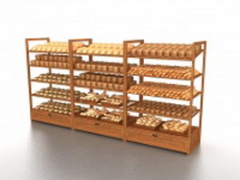 Bakery retail display rack 3d preview