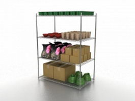Gardening products rack 3d preview